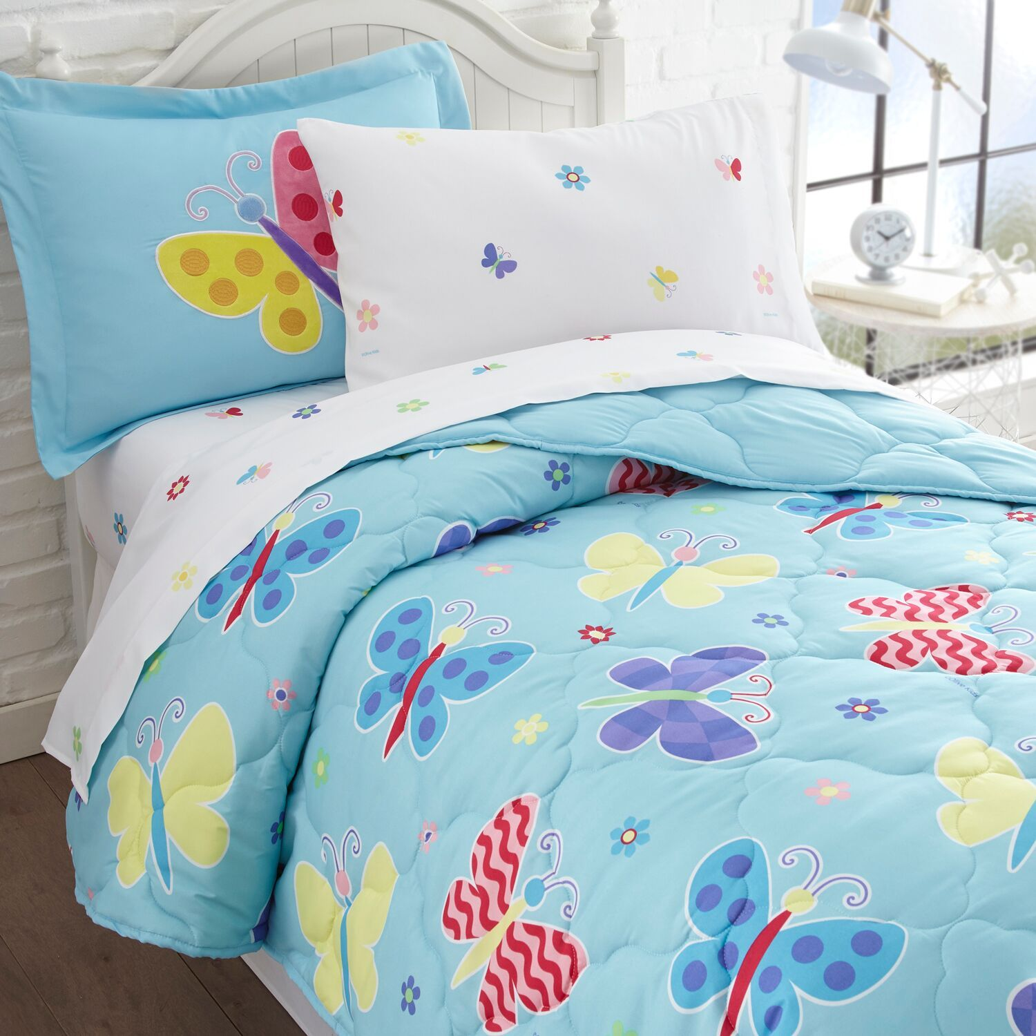 Blue Butterfly Bedding for Girls Twin or Full Bed in a Bag forter