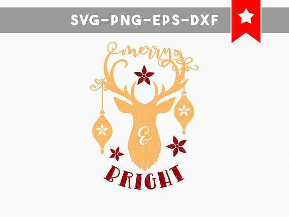 Get Deer – Merry & Bright / Svg Png Dxf DXF