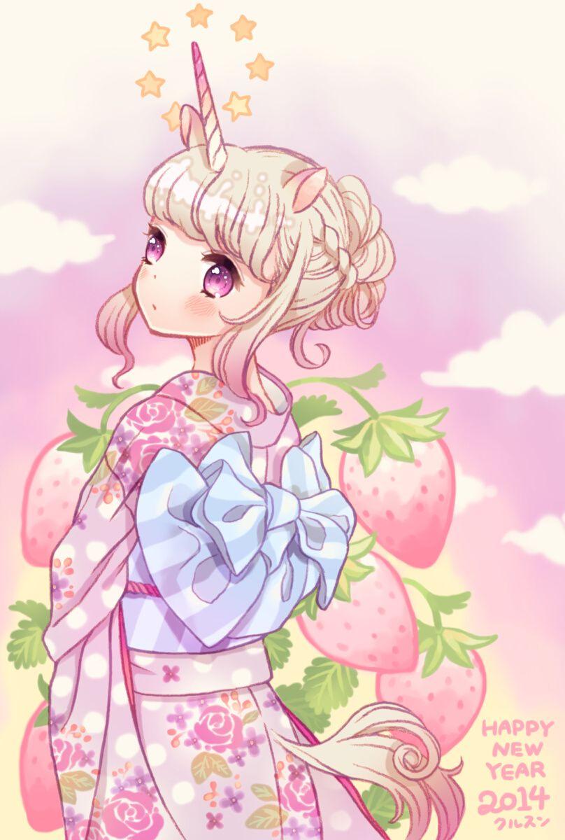 3 cute unicorn anime girl