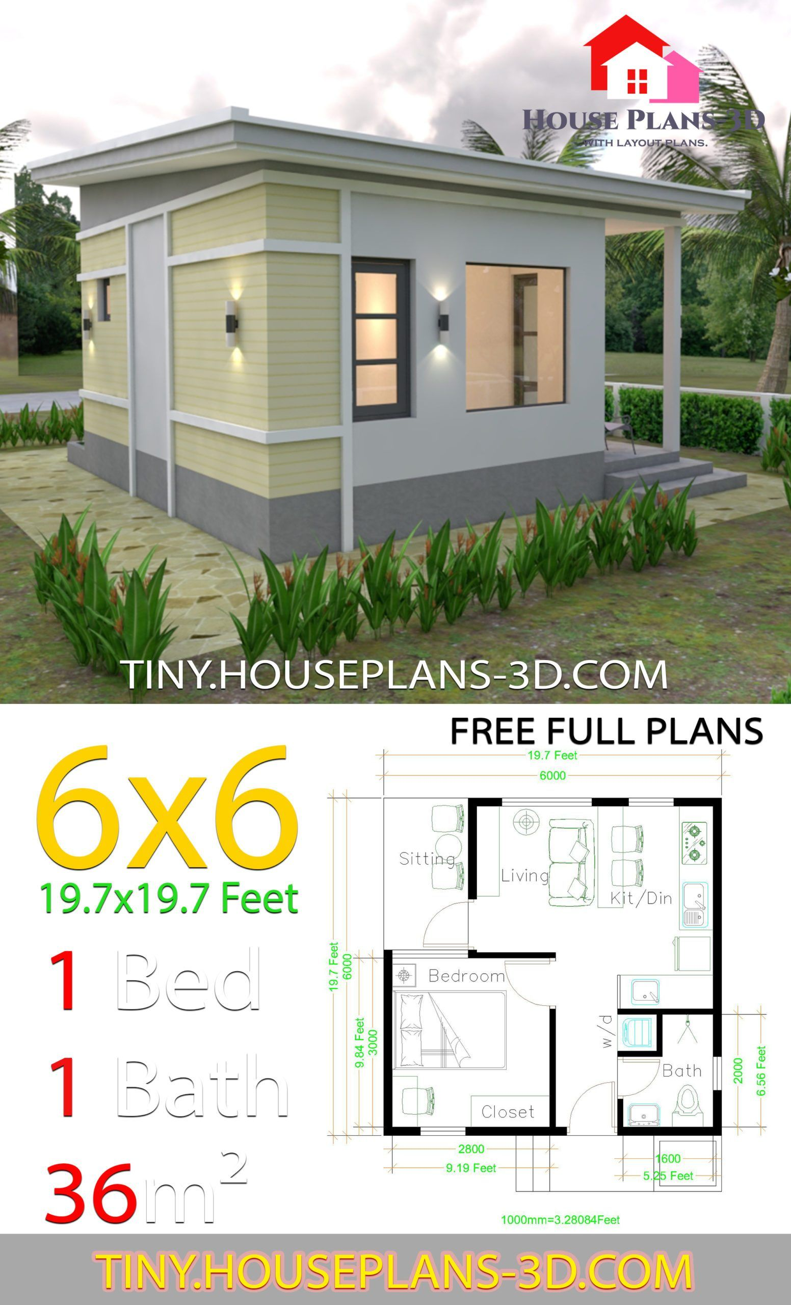 One Bedroom House Plans 6x6 With Shed Roof Tiny House Plans Small House Architecture One Bedroom House Small House Design Plans