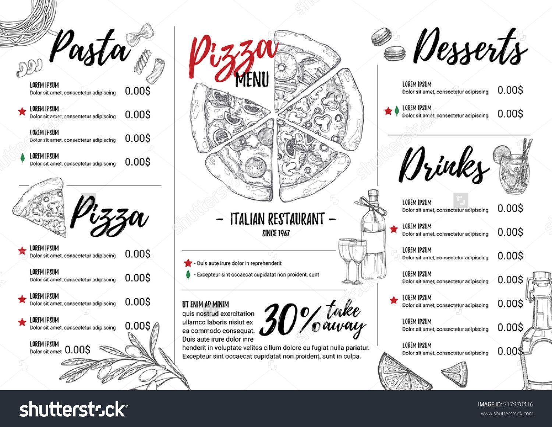 Hand Drawn Vector Illustration Italian Menu Pasta And Pizza Perfect For Restaurant Brochure Cafe Flyer Delivery Menu Hande Zeichnen Grafik Vektorgrafik
