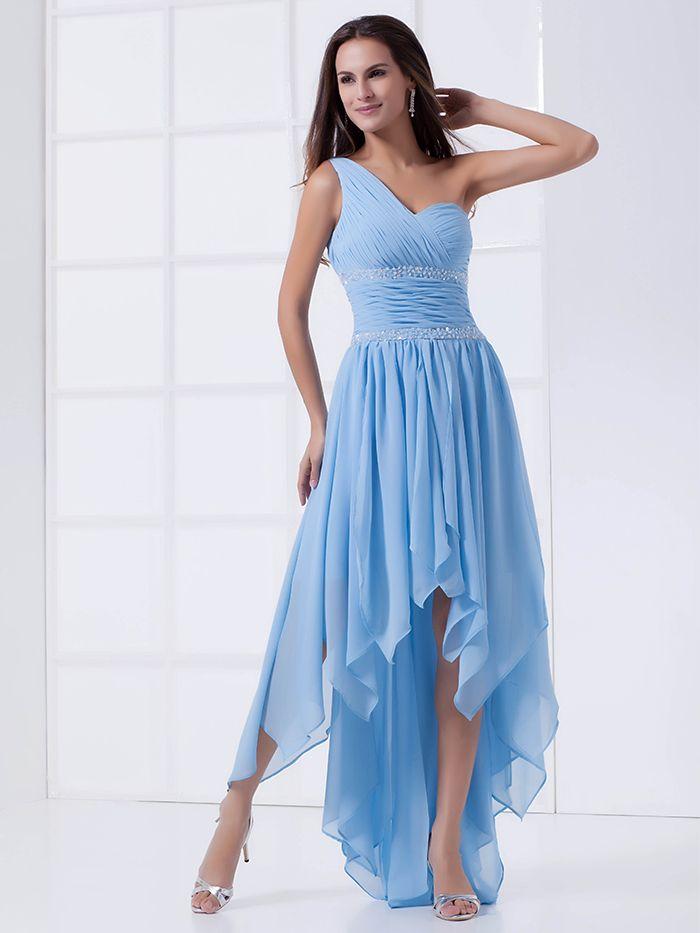 floor length high low one shoulder cocktail dresses