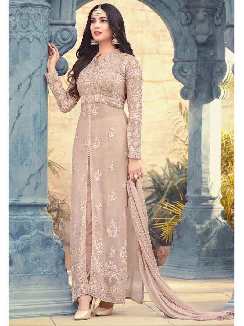 70050b4bf6 Beige+Color+Designer+Front+Open+Indian+ethnic+Party+wear+Salwar+Kameez