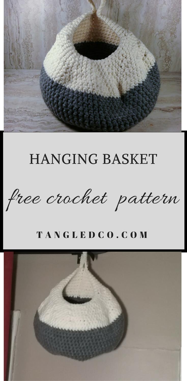 Hanging Crochet Basket Pattern – Tangled Co | I am a hooker ...