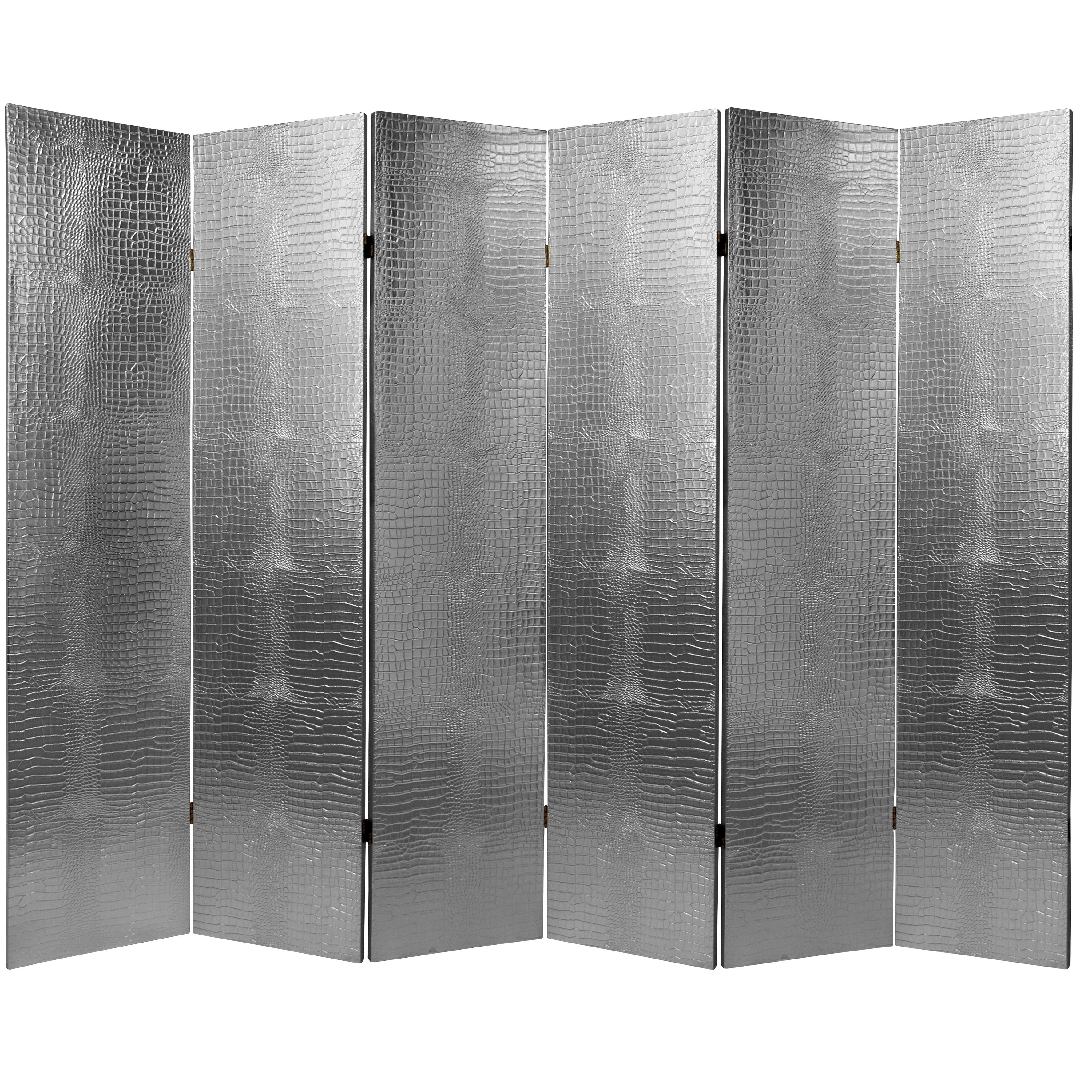 6 Ft Tall Faux Leather Silver Crocodile Room Divider Free
