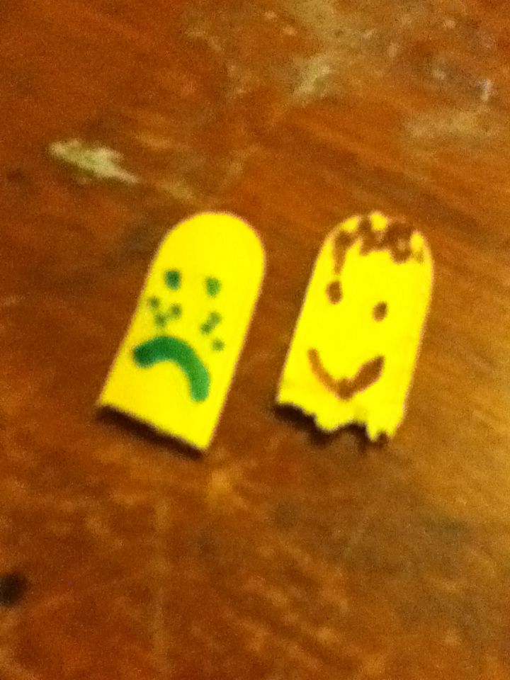 I made these feeling people out of craft sticks just cut the ends off