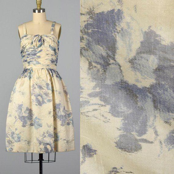 5fb940fee2d XS 1950 s Français Floral robe de Cocktail d été robe de cocktail bleu  Floral