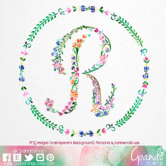 Letter R Floral R Monogram R Initial R Letter Clip Art Letter