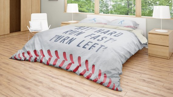 Baseball Bedding Set Inspirational Quote Duvet Cover Set Etsy Baseball Bed Sports Bedding Bed Linens Luxury