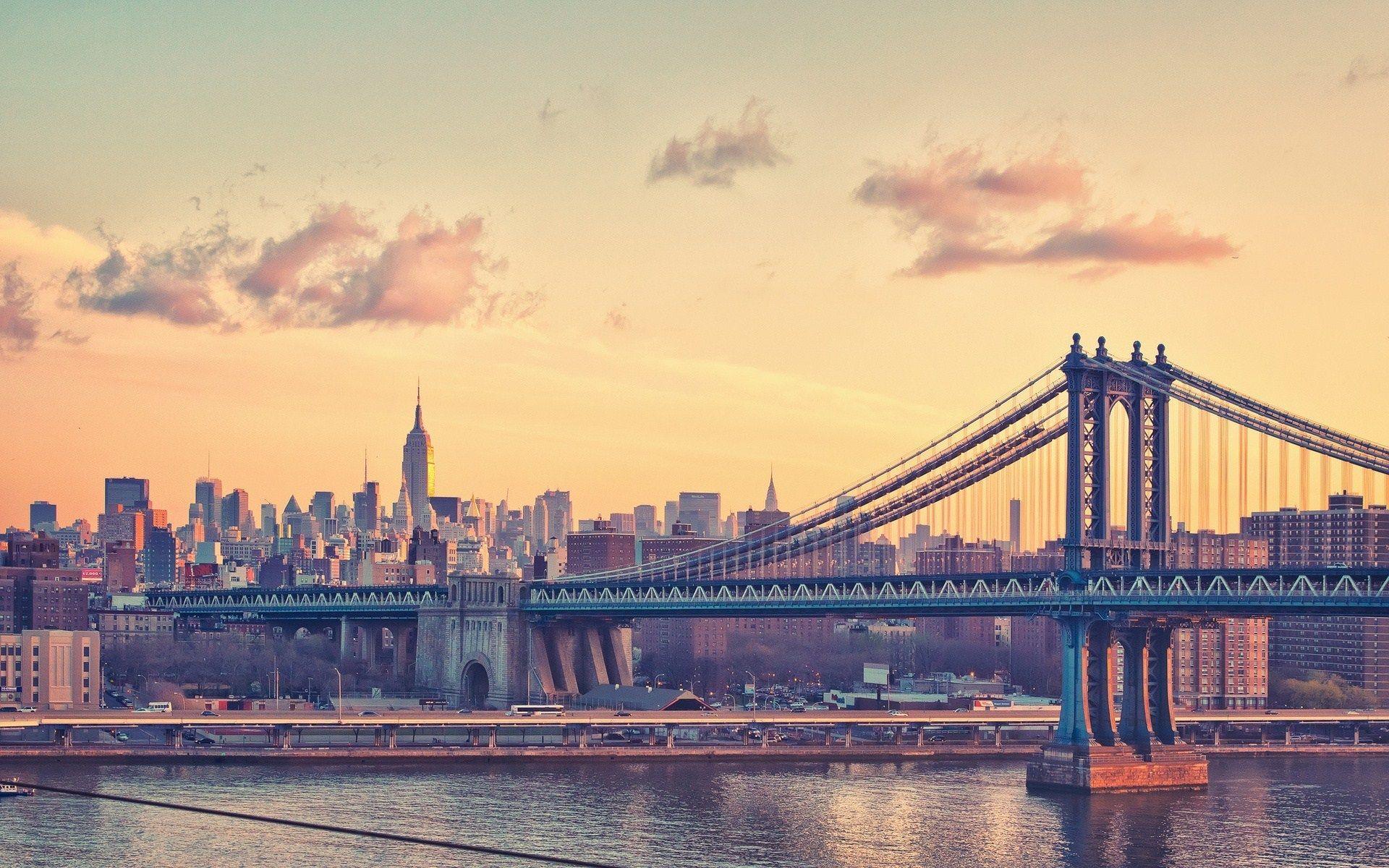 New York City Manhattan Bridge Clear Sky River HD
