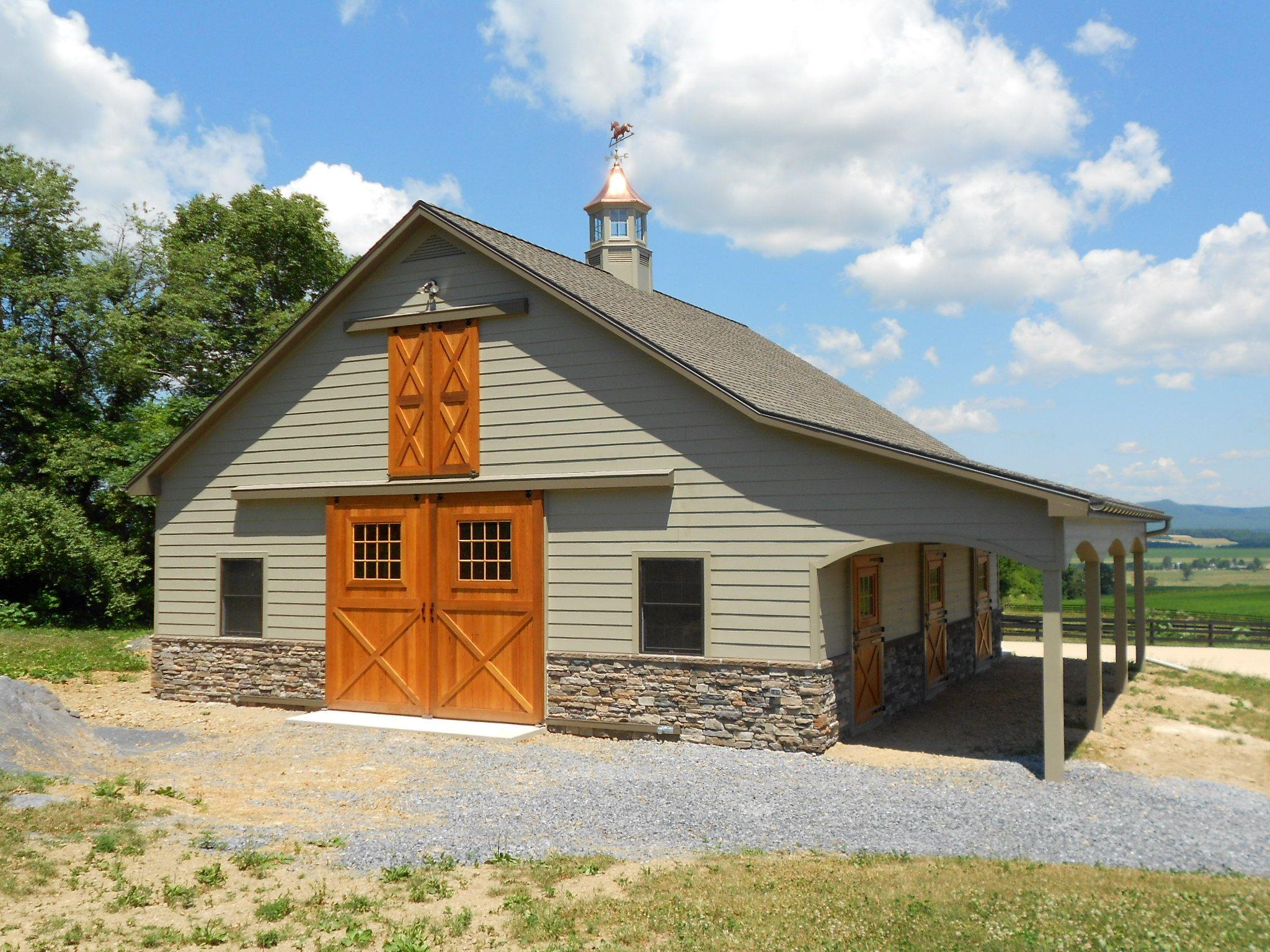 Custom Pleasure Barn Featuring Shingle Roof Custom Cupola