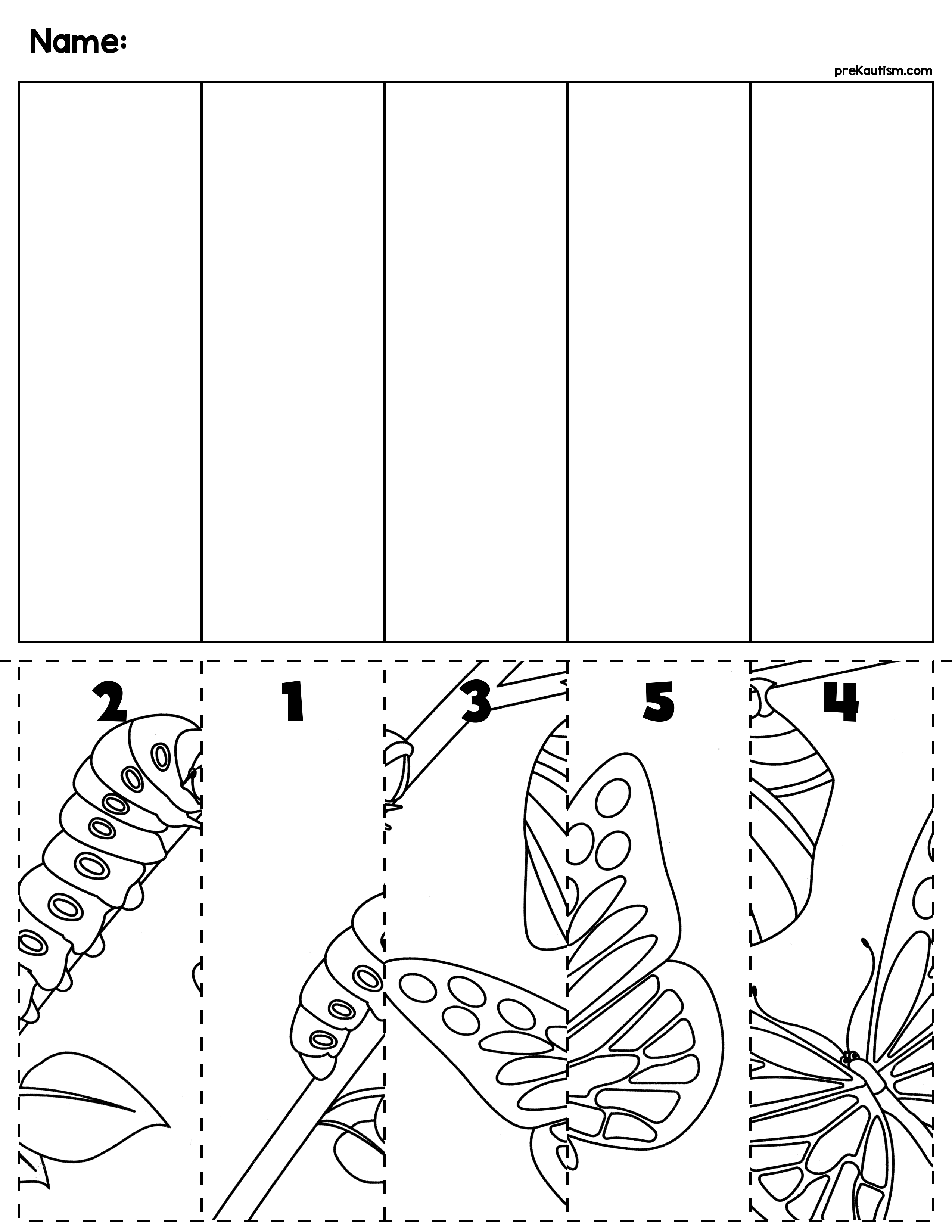 Spring Bugs Scene Number Sequence Puzzles | Raupe, Nimmersatt und ...