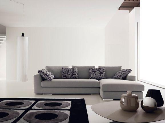Composizione angolare moderna in tessuto grigio, completa di ...