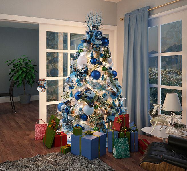 Pinos de navidad con nieve decorado buscar con google for Arbol navidad turquesa
