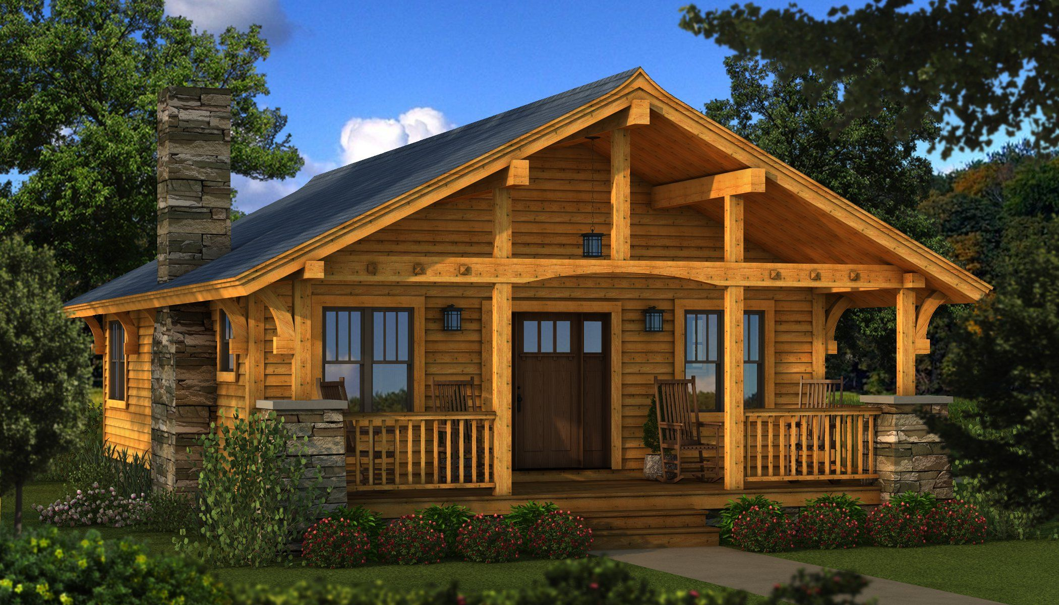 Bungalow 2 log cabin kit plans information for Southland log homes