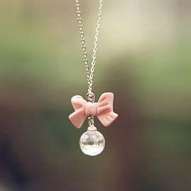 Image of Collier kawaii - noeud rose