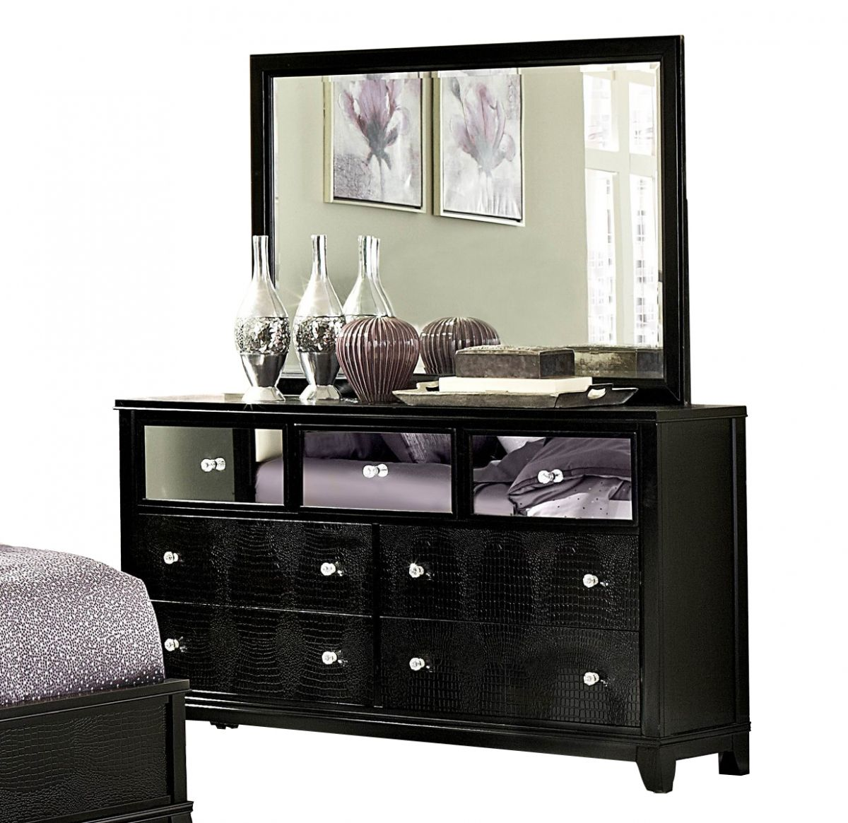 Jacqueline Black Wood Glass Dresser Mirror Black Bedroom