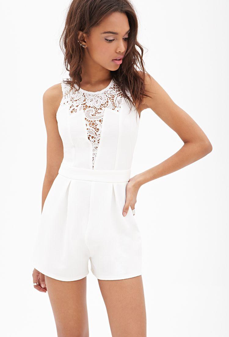 lace-paneled ribbed romper | modestil, jumpsuit damen