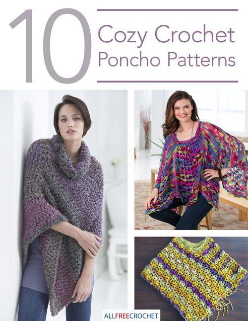 10 Cozy Crochet Poncho Patterns | Pinterest | Ponchos