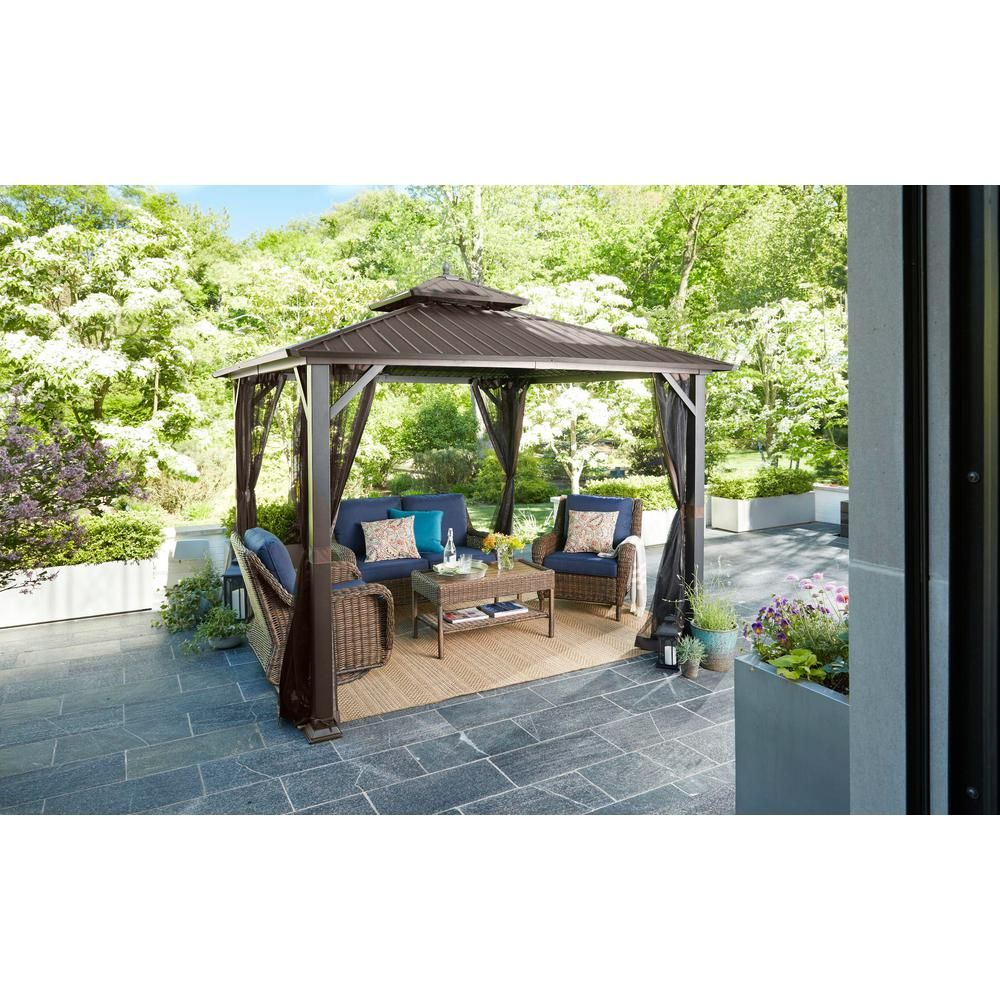Hampton Bay 10 Ft X 10 Ft Holden Outdoor Patio Black Hard Top Galvanized Steel Gazebo Tpgaz9011 The Home Depot In 2020 Steel Gazebo Gazebo Gazebo On Deck