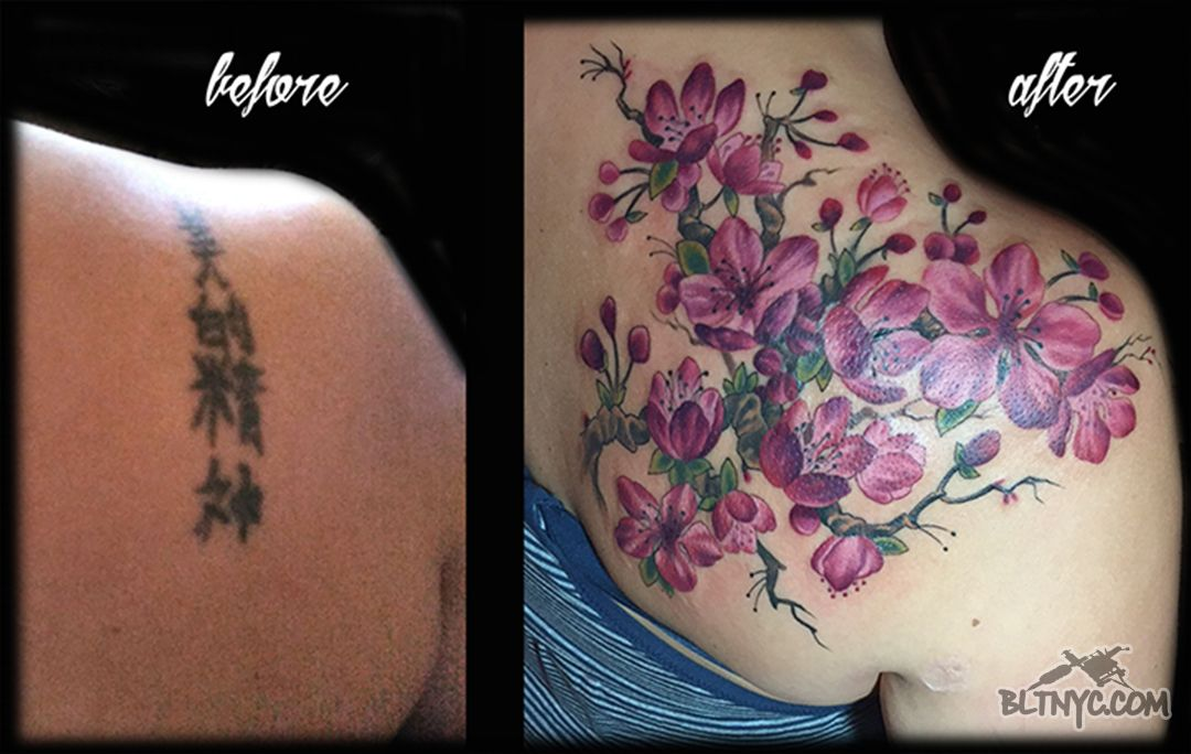 Cover Up Before And After Cherry Blossom Tree Color Tattoo By