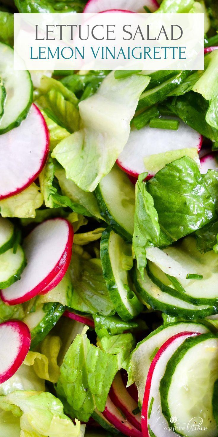 Lettuce Radish Salad With Lemon Vinaigrette Olga In The Kitchen Recipe In 2020 Radish Salad Lemon Vinaigrette Lettuce Salad Recipes
