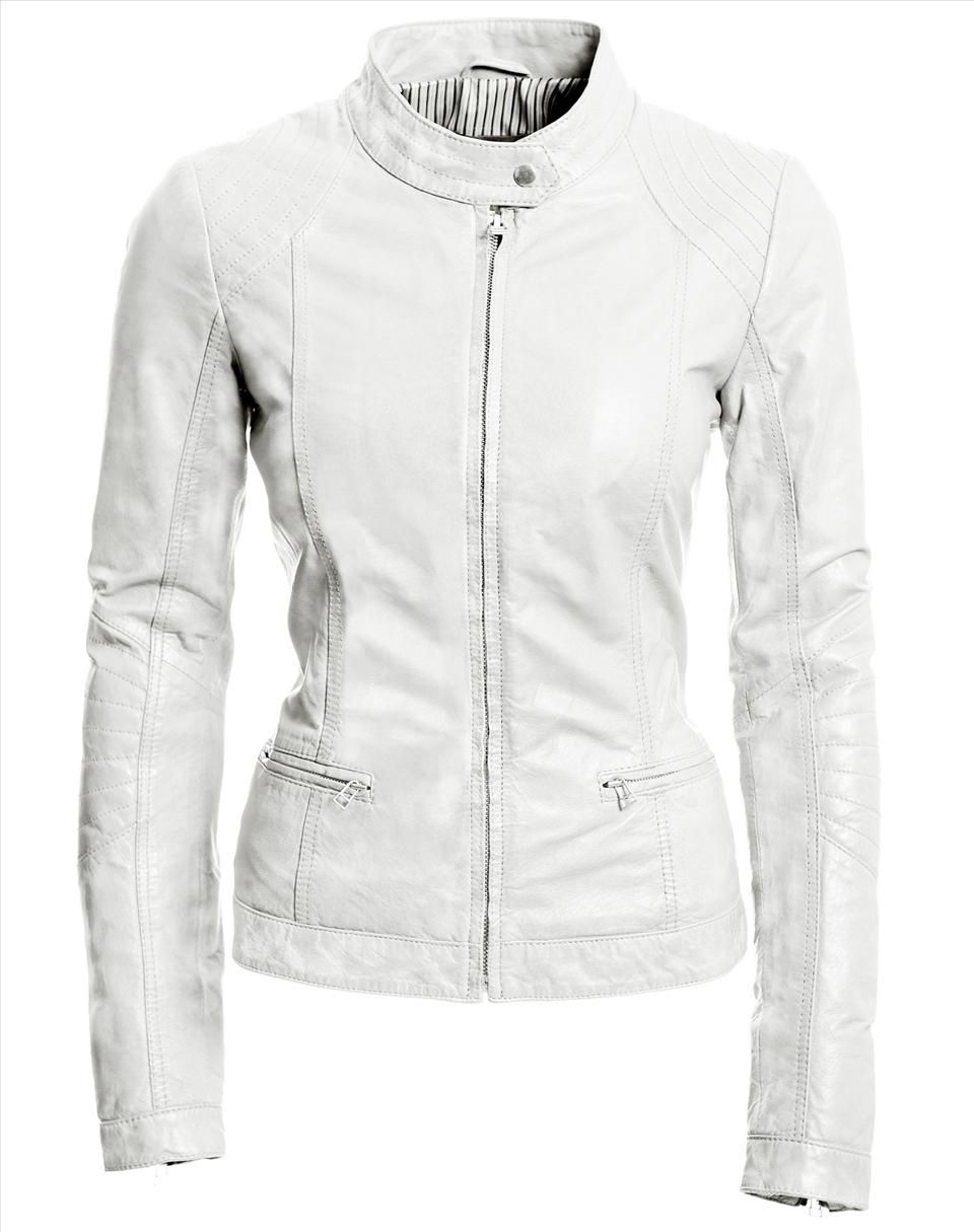 Womens White Leather Jacket - Coat Nj