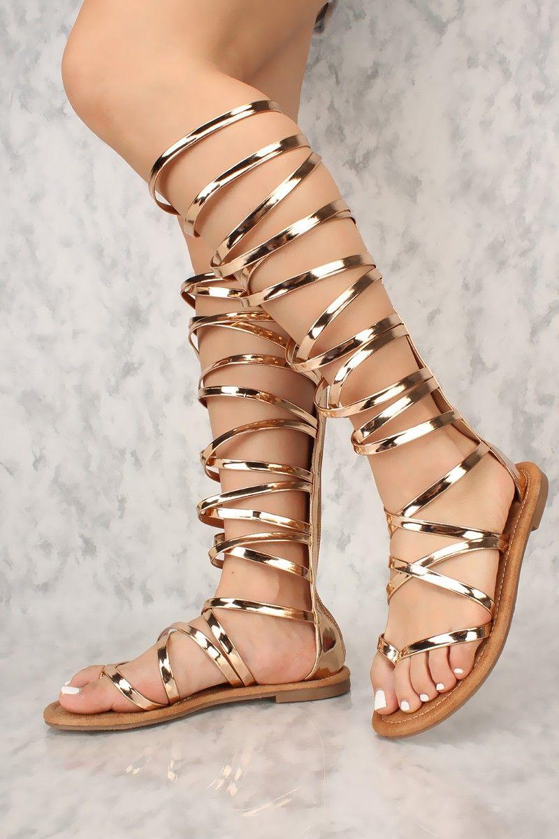 b8084611c15 Sexy Rose Gold Metallic Gladiator Thong Sandals Patent