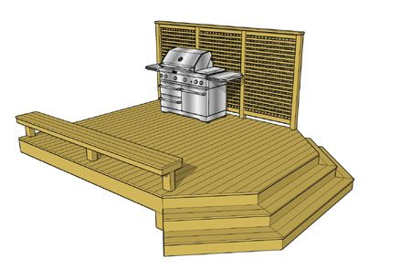 Cool Deck Plan Over 200 Sf Privacy Wall, Built In Bench And A Cascading  Stairs