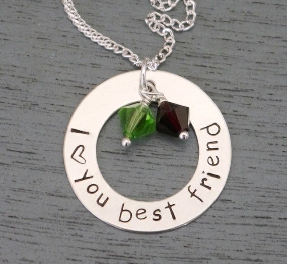 I love you best friend Necklace, Personalized Friendship Necklace, Best Friends Gift, Girlfriend Gift, Friends Forever, Best Friend Birthday...