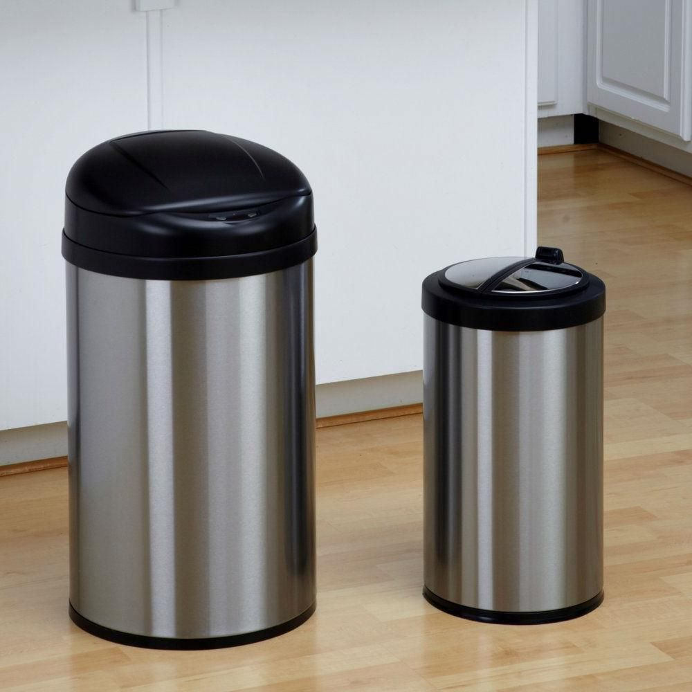 This Set Of 2 Toucheless Stainless Steel Trash Cans In 3 And 10 Gallon Sizes Is A Convenient Two In One Combo This Set Trash Cans Kitchen Trash Cans Trash Can