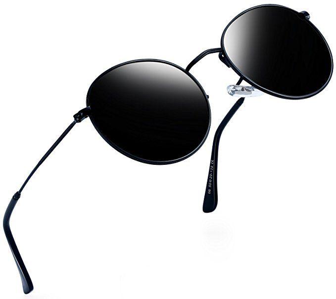 a927df218b Joopin-Men Retro Brand Polarized Sunglasses Women Vintage Round Sunglasses  (Black
