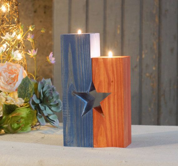 Rustic Red White And Blue Candle Holder Rustic Home Decor 4th Of