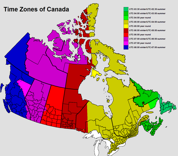 Did You Know That Canada Is So Large That It Actually Has Six Time Zones Online Clock Canada Time Zones