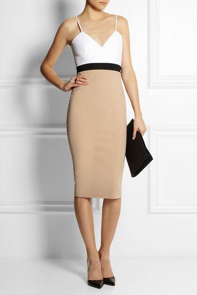 Cami color-block stretch cotton-blend dress by Victoria Beckham