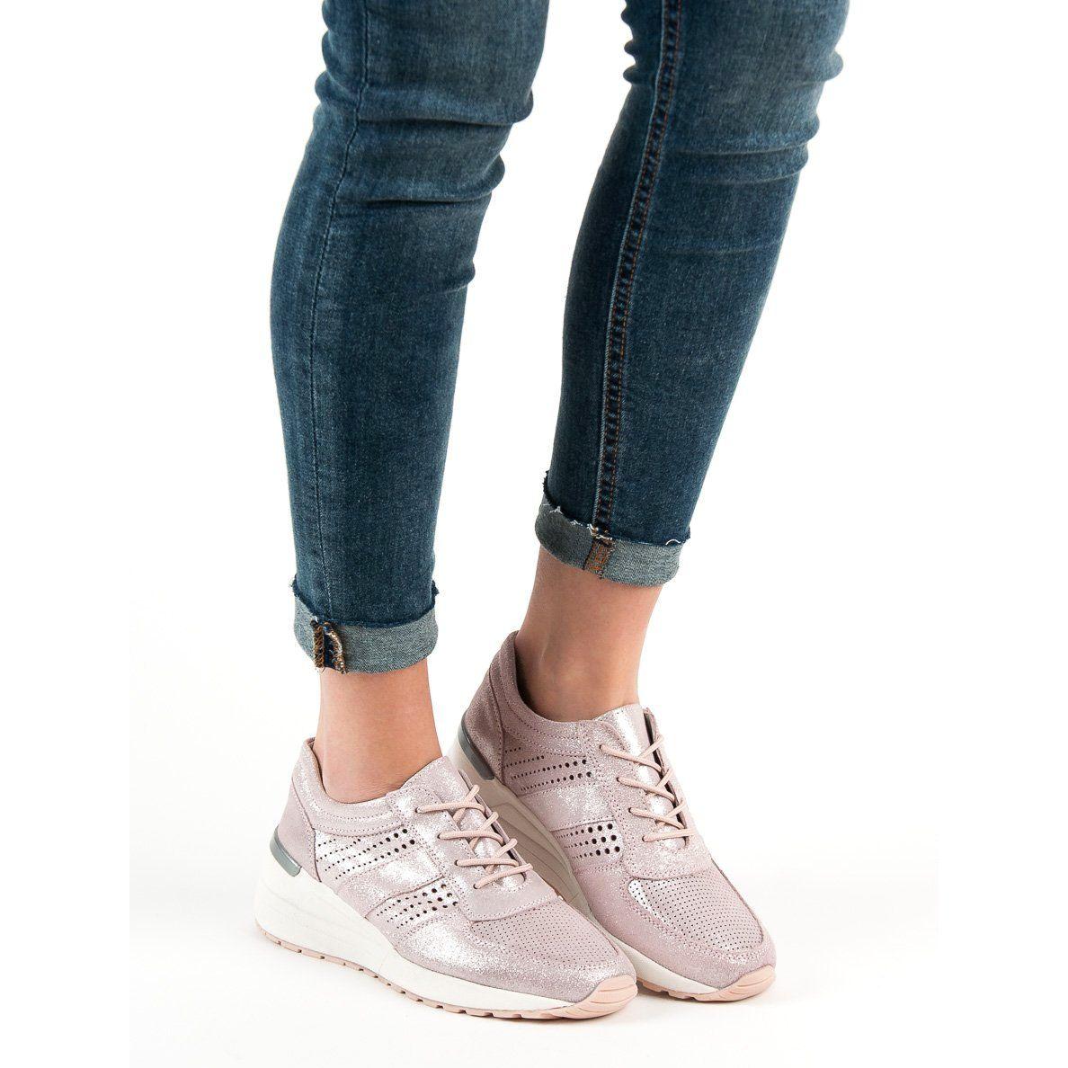 Filippo Skorzane Sneakersy Na Koturnie Rozowe Wedge Sneaker Shoes Sneakers