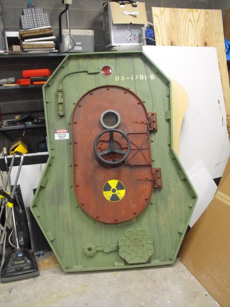 Bomb shelter door made from cardboard and foamboard