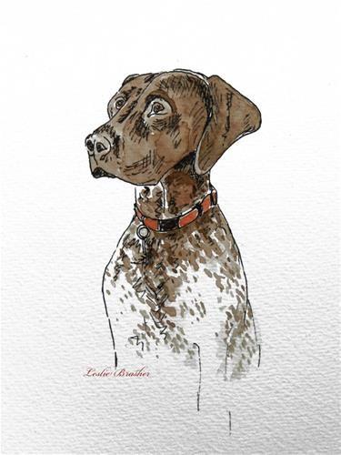 """Daily Paintworks - """"Tucker"""" - Original Fine Art for Sale - © Leslie Reid Brasher"""