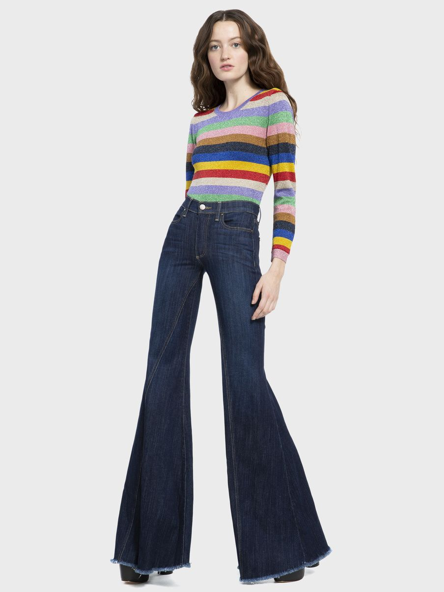 eea81c336 BEAUTIFUL HIGH RISE RUFFLED HEM JEAN | Alica + Olivia 1960s Fashion, 60s  Fashion Trends