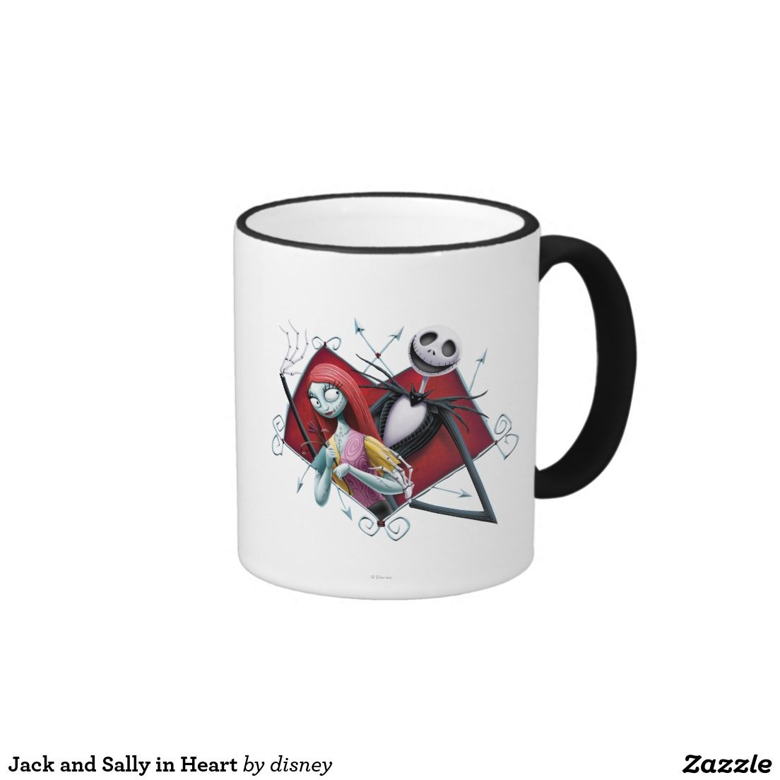 Jack Skellington y Sally en corazón Taza De Dos Colores #taza #mug