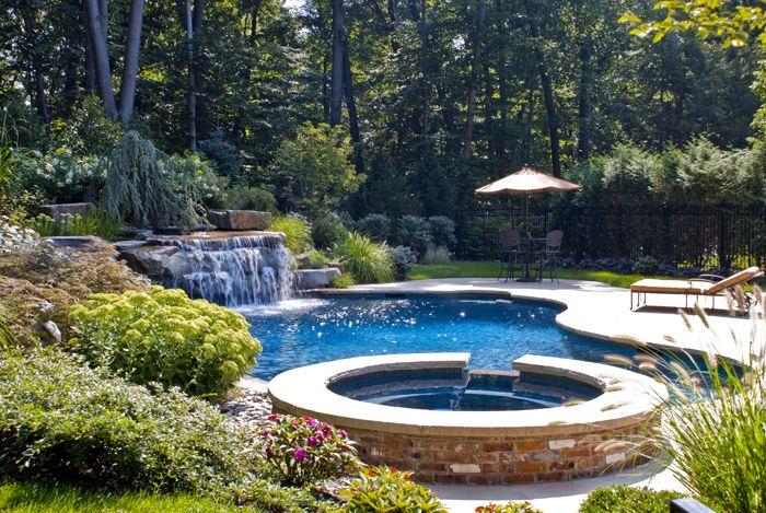Backyard Swimming Pool Landscaping Natural Waterfall Design Ideas NJ