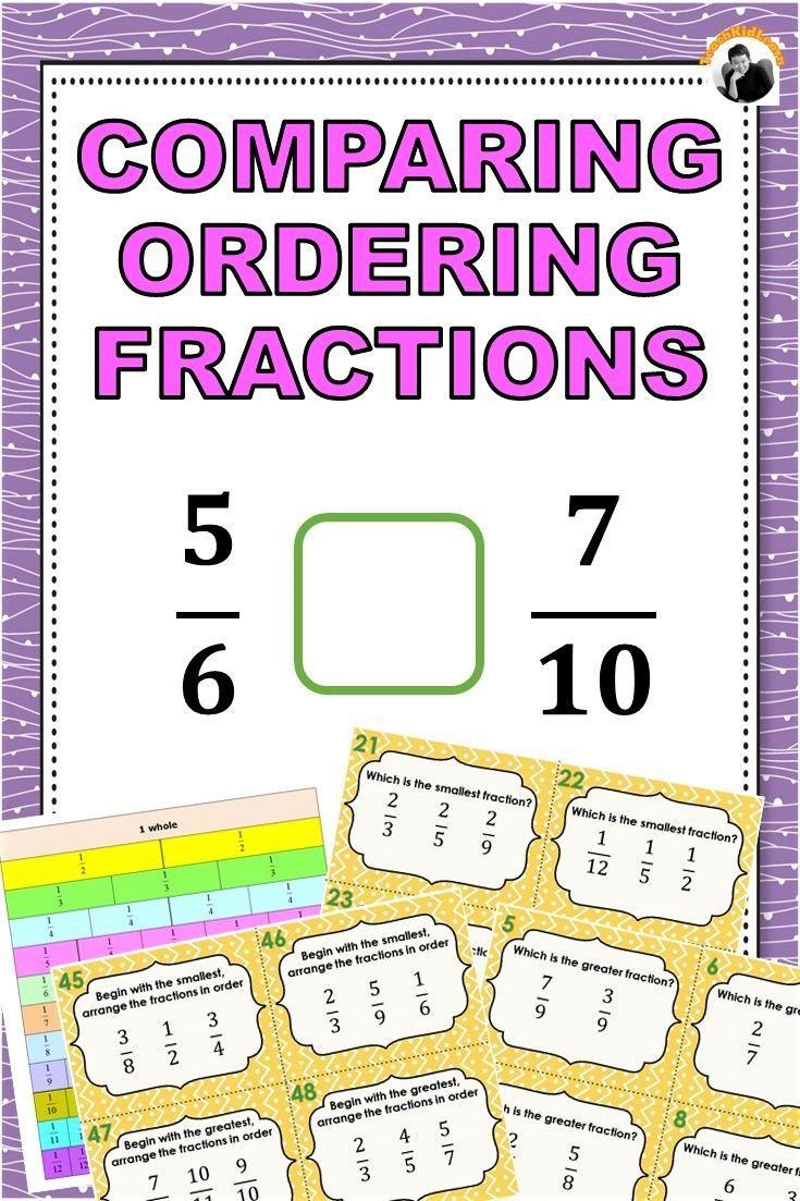Comparing and Ordering Fractions Task Cards 3rd4th Grade