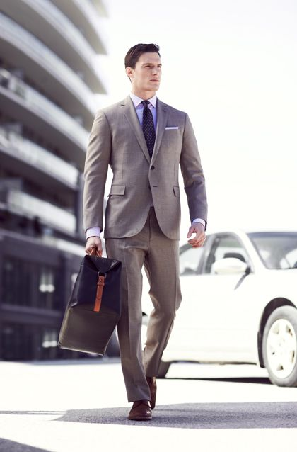 Men's Grey Suit, Violet Dress Shirt, Brown Leather Derby Shoes ...