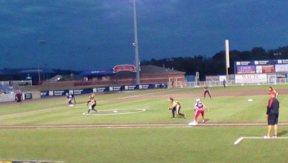 First Pro Softball Game Rebellion Vs Akron Racers Soccer Field Softball Baseball Field