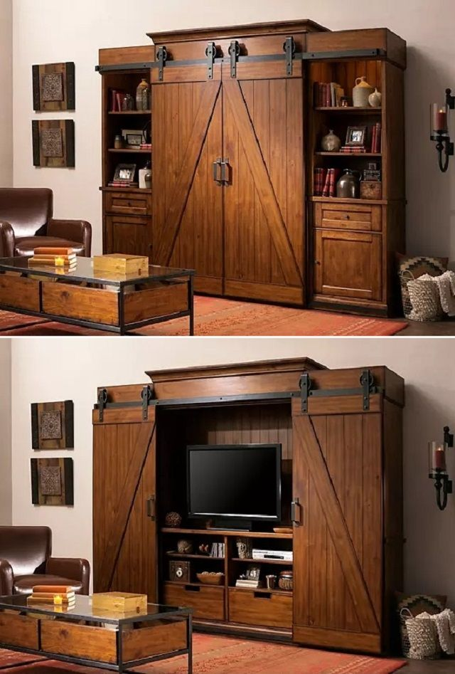 entertainment center with barn doors 3 640 947. Black Bedroom Furniture Sets. Home Design Ideas