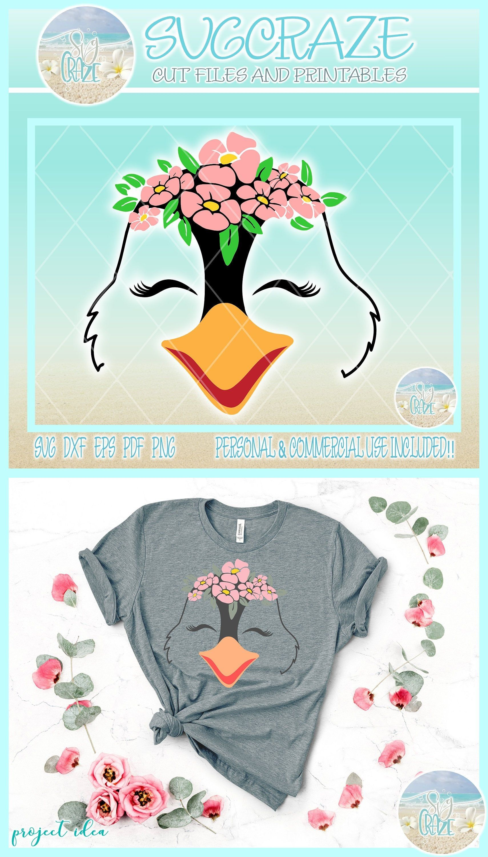 Penguin With Flowers Svg Dxf Eps Files For Cricut