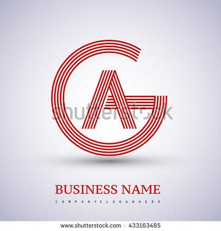 Letter AG or GA linked logo design circle G shape. Elegant red colored letter symbol. Vector logo design template elements for company identity. - stock vector
