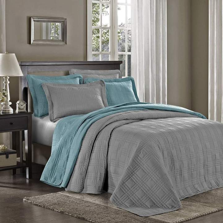 Chezmoi Collection 3-Piece Spa Blue Oversized Quilted Bedspread Coverlet Set