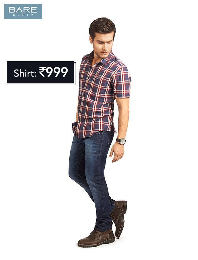 Checked Shirt From Bare Denim For Rs 999 Mens Shirts Mens Tops