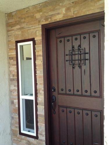 Main Door 36 In X 80 In Rustic Mahogany Type Prefinished Distressed Solid Wood Speakeasy